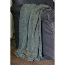 RIVIERA MAISON CLASSIC FOREST GREEN KNITTED THROW 130 x 180cm