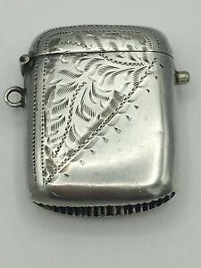 "Rare Push Button Edwardian Silver Vesta Case Charles Lyster & Son B""Ham 1906"