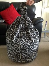 Bean Bag Filled Black & White Snow Leopard Faux Fur 3 CUBIC FT Children's Beanie