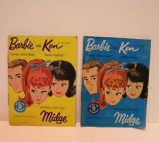 2 Vintage 1962 Barbie Ken Midge Wardrobe Booklets