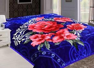 Korean Blanket Mink Heavy 8Lbs Queen Size Warm Plush Soft Reversible Blue Floral