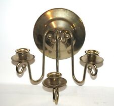 Vtg Brass Triple Candle Wall Sconce Tapers Candelabra Holder Decor USA made