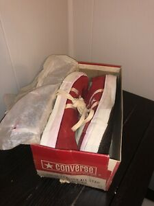 NOS Vtg Converse One Star Stripe Red Suede Original 70s Men US 12 Black Label DS