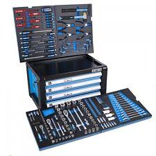 DeTec. Werkstattwagen Aufsatz Werkzeugkiste gefüllt Werkzeugkasten in blau