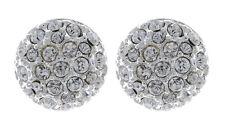Pendientes de clip-Plata Stud Con Cristales Diamante Claro-ébano Bello London
