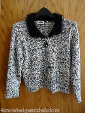 VIVRE for Zij Sweater Zip Front Black/White Cardigan Womens Size S Fuzzy Collar