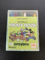 Rare Vintage Mickey Mouse 16 Crayons Disney / Golden Books With Case