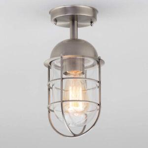 CGC Silver Cage Fisherman Light Ceiling Lamp Indoor Outdoor Vintage Retro UK