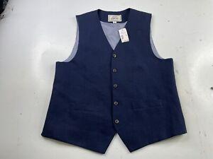 NWT Jos A. Bank 1905 Vest Waistcoat Navy Blue Linen Cotton Men's Medium
