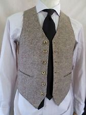 WOOL TWEED tan brown button front suit steampunk waistcoat vest XS 34