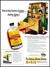 1947 Johnson's Cream Wax Housewife cleaning furniture vintage art print ad  adL5