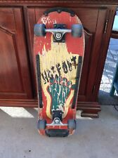 Vintage Neff Hot Foot Wide Skateboard Deck With Trucks And Fat Wheels 1980s