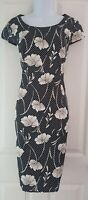Womens Precis Petite Dress size 10 black white spots flowers pencil work party