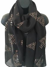 Ladies Women Merry Christmas Tree Metallic Foil Print BLACK Scarf Wrap Pashmina