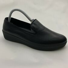 FitFlop Women's Audrey Smoking Slippers Black Leather Loafer Flats Size 8.5 M