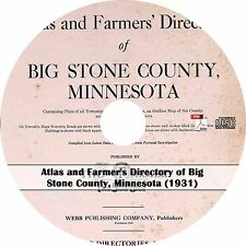 1931 Atlas of Big Stone County, Minnesota - History Genealogy Maps Book on CD