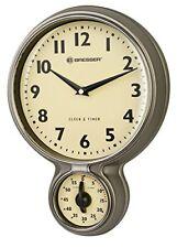 Bresser MyTime Stainless Steel Retro Kitchen Clock W. Egg Timer