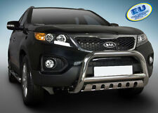 PARE BUFFLE KIA SORENTO 2009-12 HOMOLOGUE INOX Ø 70mm avec Plaque de protection