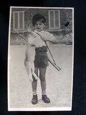 Cartolina Fotografia Filatelia Collezionismo Bambino Caccia