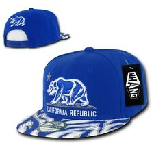 Blue California Republic Cali Zebra Print Flat Bill Snapback Snap Back Cap Hat