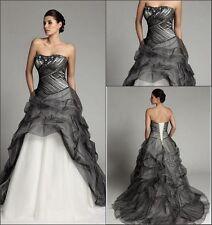 Vintage Ivory/Black Summer A Line Wedding Dresses Chapel Colored Bridal Gowns