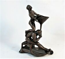 ART NOUVEAU BRONZED  CANDLE HOLDER STATUE SIGNED GEORG LEYHAUF, NERNBERG C1905