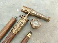 Walking Stick Cane DOLLOND LONDON Antique Telescope Handle & Compass Christmas