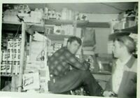 1950s B&W Photo SCHLITZ Beer Display Two Men General Grocery Store mb211