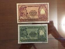 LOTTO 2 BANCONOTE LIRE 50 100 ITALIA ELMATA 1951 BOLAFFI numismatica SABAUDA