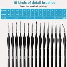 15X fein Pinselset Künstlerpinsel Malpinsel Pinsel für Aquarell, Acryl und Öl