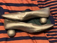 Rare Vintage Yves Saint Laurent Silver Ball Heel Shoes 11