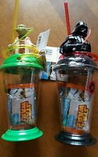 Lot 2 Disney Star Wars Yoda & Darth Vader Candy & Cup Topper Cups krazy Straw