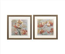Vintage Painting Flower Framed Wall Art Brown Home Decor Set
