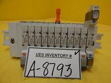 SMC 11-Port Pneumatic Manifold SY3140-5LZ Used Working