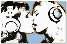 """Steez DJ Girls Kissing XL CANVAS PRINT pop poster DJ ART 24""""X 36"""""""