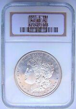 1881 S Silver Morgan Dollar NGC MS 65 PL Cameo Luster Deep Mirror Proof DPL PL