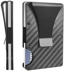 black carbon fiber RFID blocking credit card holder money clip