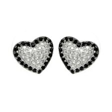 Pave Black & Clear Cz Stones Sterling Silver Heart Stud Earrings w/ Micro