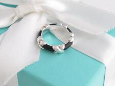 New Mint Auth Tiffany & Co New Black Enamel Signature Ring Size 9.5