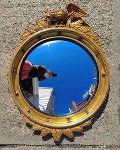 "Vtg Antique 30"" Federal Eagle 13 Colonies Convex Bubble Gold Gilt Wood Mirror"