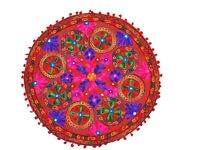 """Red Embroidered Round Floor Seating Pillow Cover Living Room Ethnic Cushion 24"""""""