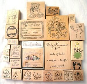 Lot of 26 Baby Announc, Rubber Stamps - PSX, Paper Adventures, Stampin up - etc.