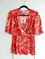 River Island red white floral print wrap kimono sleeves blouse top UK 10 Eur 36