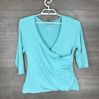 Soft Surroundings Women's Size PXL Petite Surplice Wrap Knit Top Blue 3/4 Sleeve