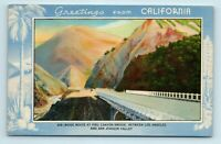 LA to BAKERSFIELD, CA - GREETINGS FROM CALIFORNIA RIDGE ROUTE POSTCARD
