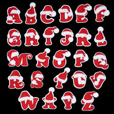Christmas Santa Xmas Red Letter Patch Patches Iron on / Sew Alphabet Embroidery