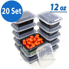 12 oz Meal Prep Containers Lunch Box 20 Set, High Quality Plastic Made in U.S.A.