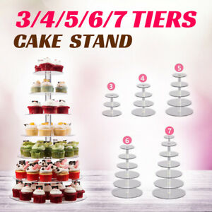 3/4/5/6/7/Tier Acrylic Clear Round Cupcake Cake Stand Birthday Wedding Party AU