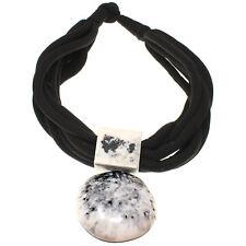 Fashion tribal jewelry oversized round black and white pendant choker necklace