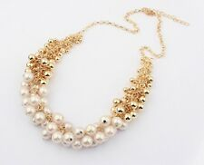 Imitation Pearl & High Gloss Golden Beads Chain Pendant Collar Necklace Choker